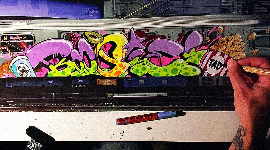 BOOGIE рисует на холсте вагона
