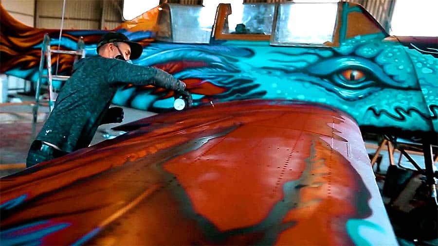 Граффити на самолёте ЯК-52 от Gooze Art