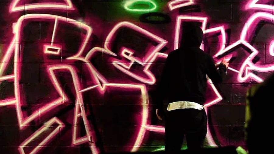 Reks – Neon piece in abandoned factory