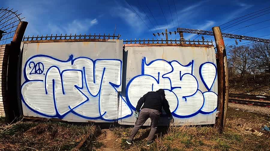 Tags, throwups and colored wall
