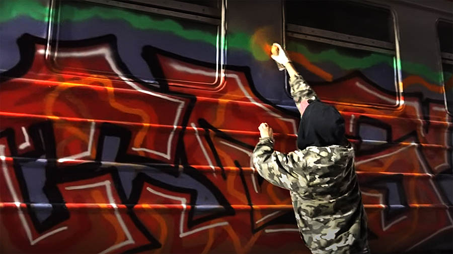 Graffiti on train in Moscow