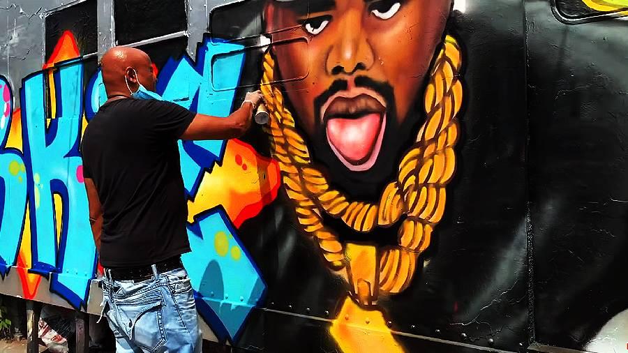 Fat Joe & Tats Cru painting Biz Markie 'Get Well Soon' Tribute